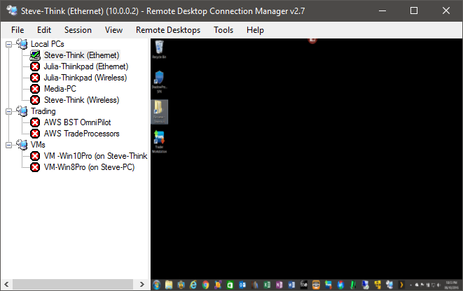 Viewing a thread - Using Remote Desktop Connection (RDC)